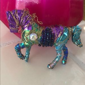 Colorful beaded horse broach